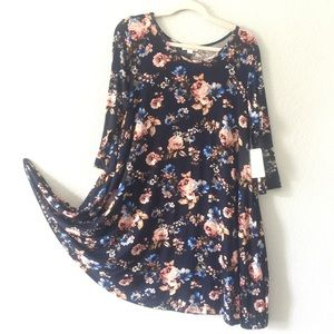 Misia dress, navy/floral, 3/4-sleeves, stretch, 1X